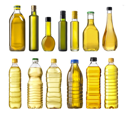 cooking oil: Olive oil bottles isolated on white