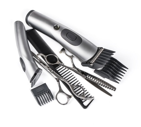 clipper: hair clipper, comb and scissors on white background