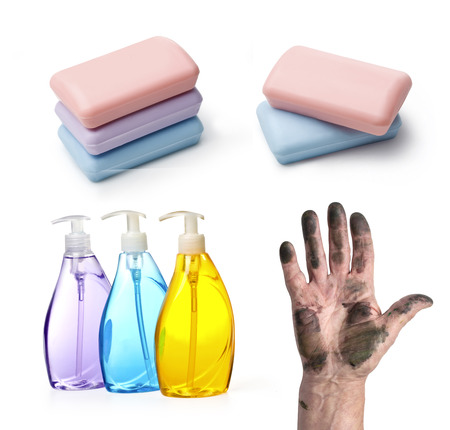 pinkie: set of soap dirty hand with clipping path Stock Photo