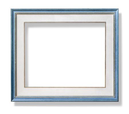 fondos azules: marco de madera de color azul con el monte. con trazado de recorte Foto de archivo