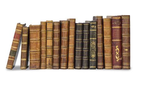 collectie oude boeken geïsoleerd op wit Stockfoto