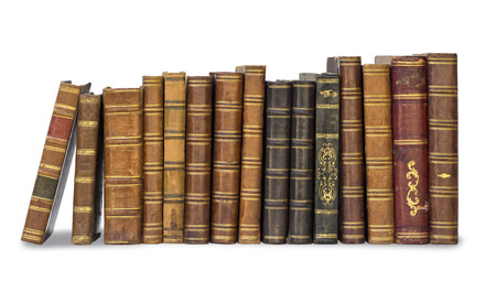 stacked books: collection old books isolated on white  Stock Photo