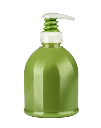 prettify: empty green cosmetic bottle with clipping path