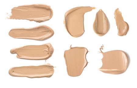 красота: Коллекция различных Strokes о красоте крем, изолированных на белом фоне