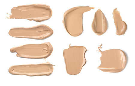 Collection of Various Strokes o Beauty Cream Isolated on White Background