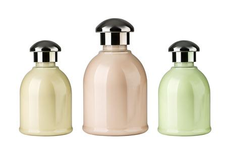meta: no icon meta lglass cosmetic bottle in white background Stock Photo