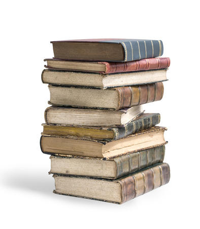 Big stack of old, antique books on white background clipping path Reklamní fotografie - 42908615