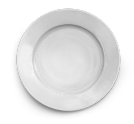 food       plate: White plate on white background with clipping path