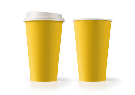 yellow paper: paper coffee cup isolated on white background Stock Photo