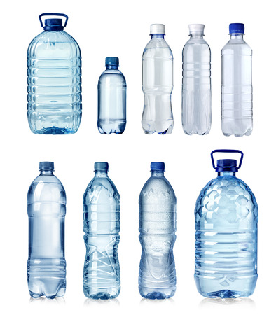 Collage of water bottles isolated on a white background