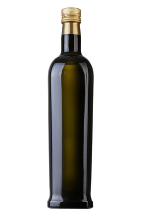 olive oil bottle: Olive oil bottle on white (includes clipping path) Stock Photo