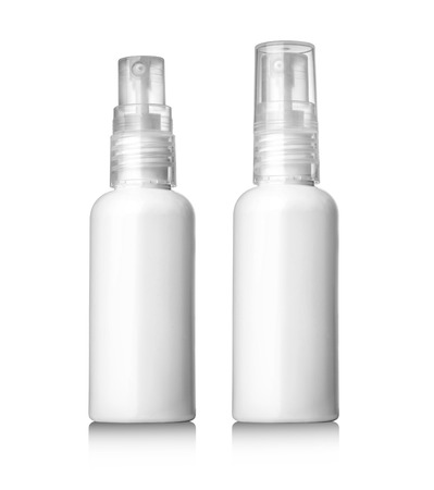 parfume: Spray Cosmetic Parfume, Deodorant, Freshener Or Medical Antiseptic Drugs Plastic Bottle White.