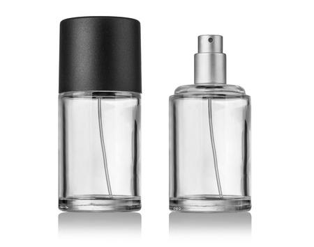 transparente: Blanco recipiente de botella de spray aislado sobre fondo blanco
