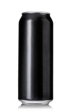 lata de refresco: Latas de cerveza negro aislado en blanco