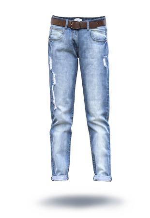 jeans vrouw in een witte achtergrond