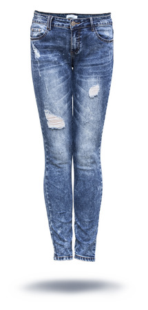 woman jeans in white background
