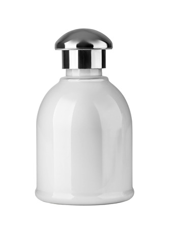 meta: no icon meta lglass cosmetic bottle in white background Stock Photo