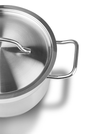 stainless steel background: Stainless steel pot. Isolated on white background