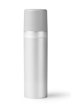 riffle: White plastic bottle  with fine mist ribbed sprayer for cosmetic, perfume, deodorant, freshener.  Stock Photo