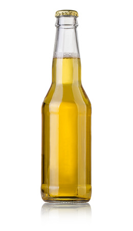 beer bubbles: bottle of beer on white background  Stock Photo