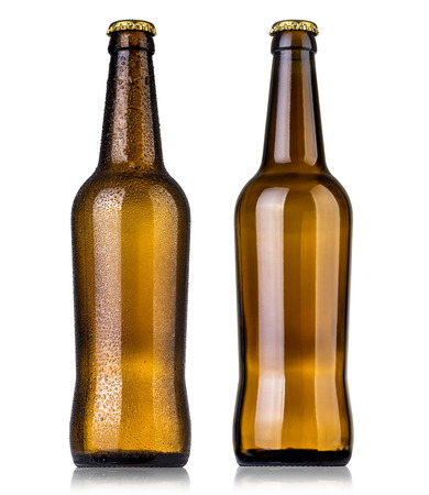 dewed: Set of Bottle of beer with drops and without drop[s on white background. Stock Photo