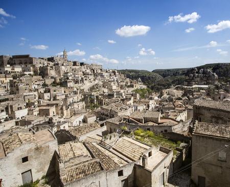 talian: view of ancient Matera, cave city. Balsilicata, Italy