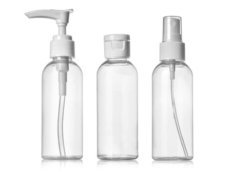 shampoo bottle: Plastic Clean Three blank bottles With Dispenser Pump on white background Stock Photo