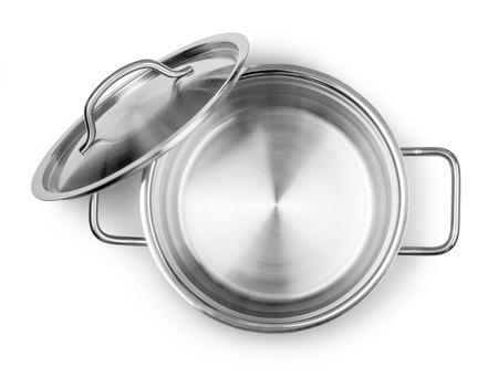 steel pan: Apertura Pot vista superior aislado en blanco con trazado de recorte