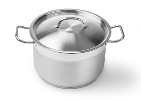 aluminium: one professional metal pot cooker for boiling isolated with clipping path