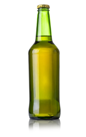 green beer bottle isolated over white background with clipping path