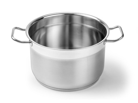 Stainless steel pot without cover. Isolated on white background with clipping path Standard-Bild