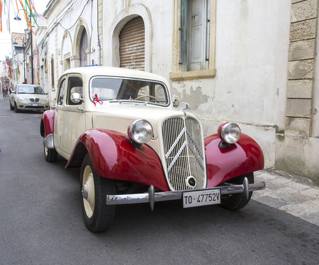 traction: PUGLIA, ITALY-  MAY 02.2015.  Exhibition of old cars. vintage car Citroen Traction Avant 11BL (1939)
