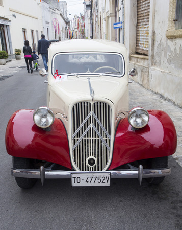 avant: PUGLIA, ITALY-  MAY 02.2015.  Exhibition of old cars. vintage car Citroen Traction Avant 11BL (1939)