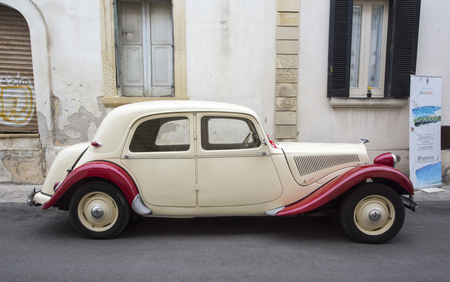 avant: PUGLIA, ITALY- MAY 02.2015. Exhibition of old cars. vintage car Citroen Traction Avant 11BL 1939