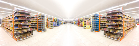 Supermarchés, objectif flou effet.