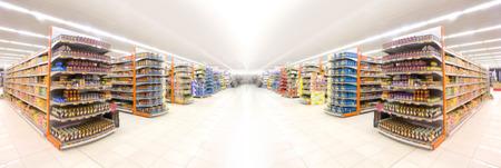 Supermarkets, lens blur effect. Stockfoto
