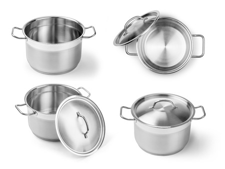 set of professional metal pot cooker for boiling isolated