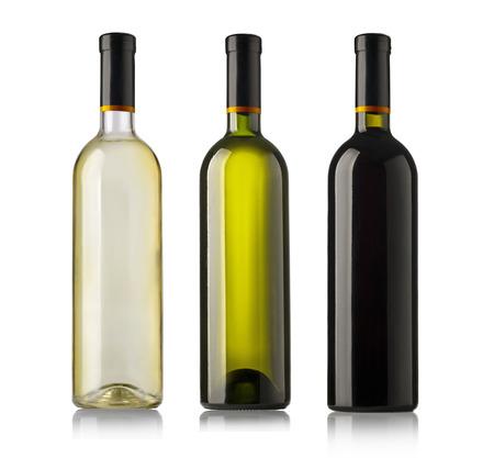 aligote: Set  bottles of wine  isolated on white background. Stock Photo