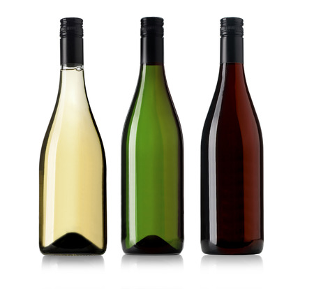 green bottle: Set of white, rose, and red wine bottles. isolated on white background Stock Photo