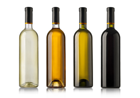 Set of white, rose, and red wine bottles. isolated on white background Foto de archivo