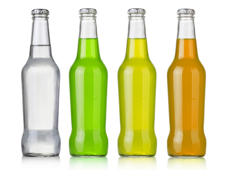 drinking soda: Four assorted soda bottles, non-alcoholic drinks