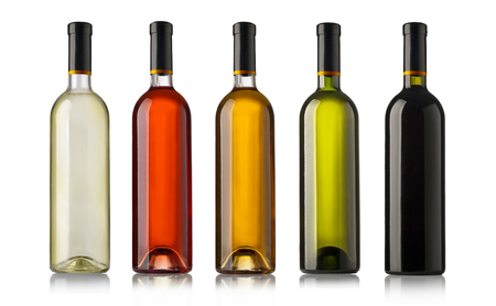 aligote: Set  bottles of wine with white labels isolated on white background. Stock Photo