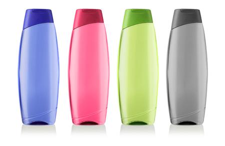 champú: Envases cosméticos, champú o gel de ducha botella de plástico con trazado de recorte