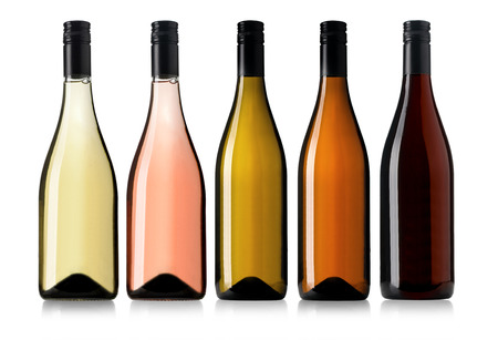 Set of white, rose, and red wine bottles.isolated on white background Foto de archivo