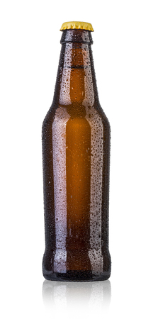 beer bottle: Bottle of beer with drops isolated on white background