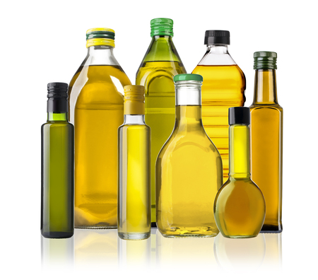 Olive oil bottles isolated  on white background