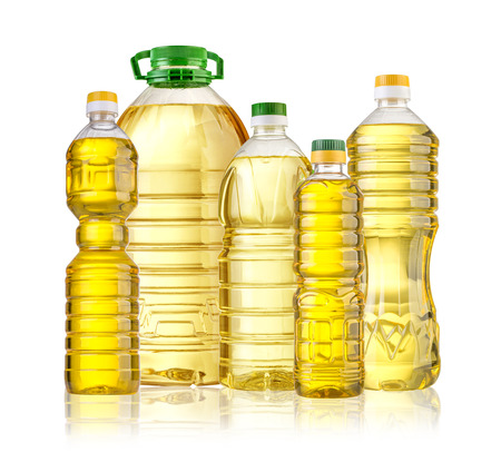 Olive oil bottle isolated  on white backgrouund Stockfoto