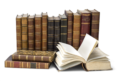 books library: old book isolated on white background with clipping path