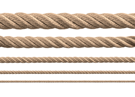 rope border: collection of various ropes on white background. each one is shot separately