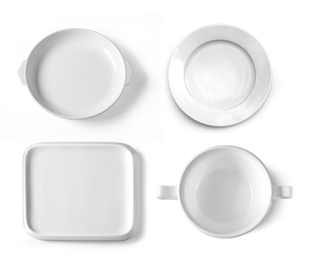 different plates isolated on white background